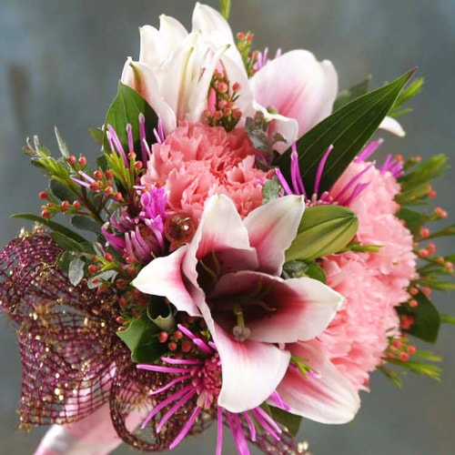 Pink Stargazer Lilies With Pink Carnations And Riceflowers